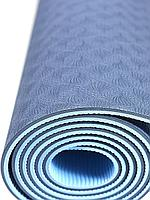 Коврик для йоги и фитнеса TPE 183*61*0.6 см, 2-слойный, сине-голубой