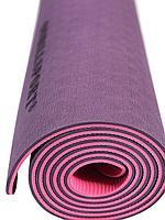 Коврик для йоги и фитнеса TPE 183*61*0.6 см, 2-слойный, фиолетово-розовый