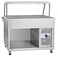 Прилавок холодильный ПВВ(Н)-70КМ-НШ вся нерж, плоский стол, нейтральный шкаф 1120мм, фото 1