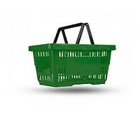 Корзина покупательская, пластик, зеленая