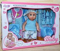 B8039 Baby Enjoi пупс с повязкой, горшок,набор для кормления, 45*33см, фото 1