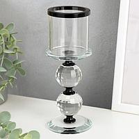 """Подсвечник стекло на 1 свечу """"Кристалл шар"""" чёрные вставки 18,3х7х7 см"""