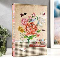 """Фотоальбом на 300 фото 10х15 см """"Клетка/Полоска и цветы"""" в коробке МИКС 33,5х23х5,5 см"""