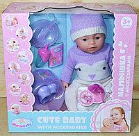 8060-571 Cute Baby пупс в вязанном комбинезоне и шапке, 9 функций, (отправ. в разобран.виде)38*36см, фото 1