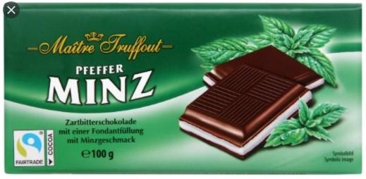 Плитка шоколада Maitre Truffout Minz с помадной наичнкой со вкусом мяты 100гр