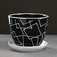 Горшок цветочный Иллюзия черная 1 л