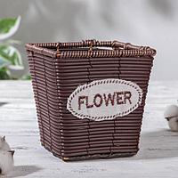 Кашпо плетеное «Брауни», 13×13×13 см, цвет коричневый