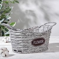 Кашпо плетеное «Луция», 30×18,5×18 см, корзинка, цвет серый