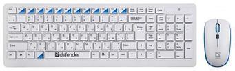 Комплект беспроводной клавиатура+мышь Defender Skyline 895 RU,белый,мультимедийный