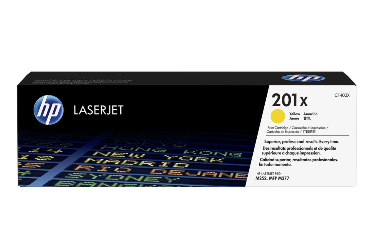 HP CF402X 201X Yellow Toner Cartridge for Color LaserJet Pro M252/MFP M277, up to 2300 pages