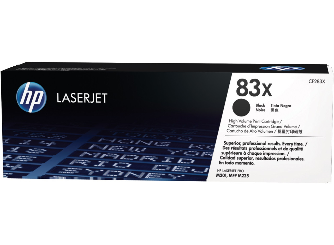 HP CF283X 83X Black Toner Cartridge for LaserJet Pro MFP M225/M201, up to 2200 pages.