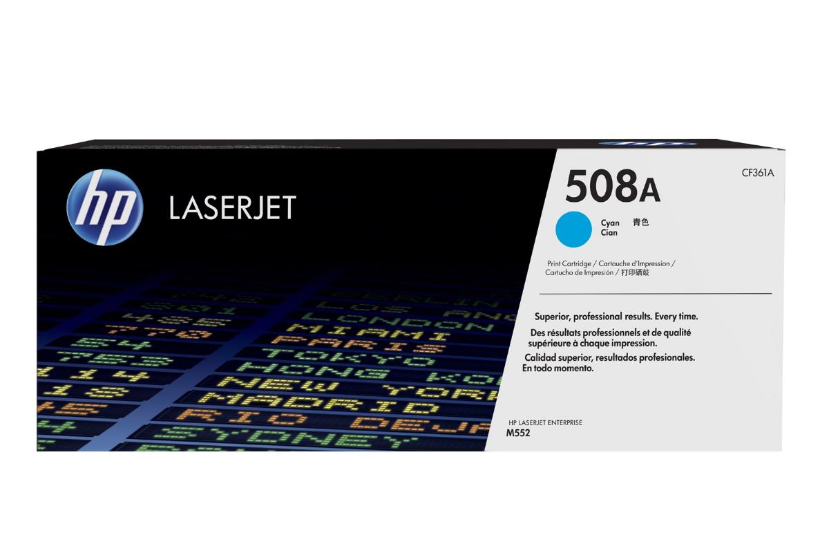 HP CF361A 508A Cyan LaserJet Toner Cartridge for Color LaserJet Enterprise M552/M553/M577, up to 5000 pages