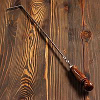 Кочерга узбекская с деревянной ручкой, с узором 40/1см, сталь 3мм
