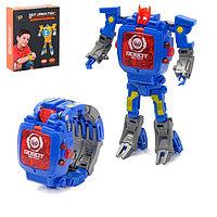 Робот-трансформер «Часы», трансформируется в часы, работает от батареек, цвет синий