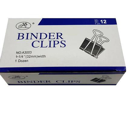 Зажимы для бумаг 32 мм, металлические, черные, 12 штук в упаковке Binder Clips, фото 2