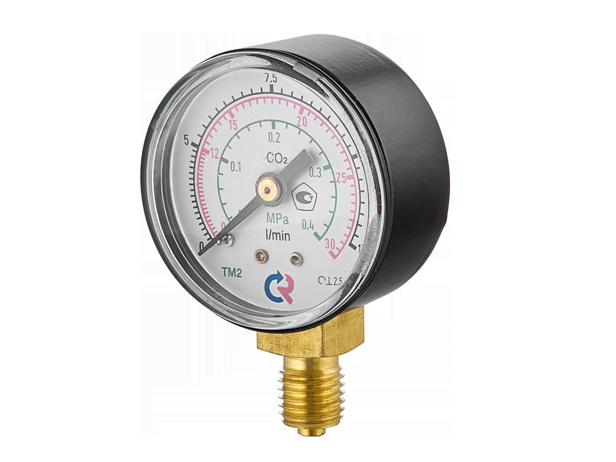 TM-210P.00 (0-30/12L/min(0,4MPa) M12x1,5.2,5. CO2 МАНОМЕТР 50 мм, ТИП-ТМ-210Р,М12х1,5 (снизу)0-30/12L/min