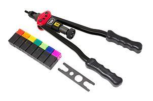 (F-67805) Заклепочник двуручный резьбовой усиленный со шкалой затяжки от 0-10мм(L - 380мм, резьбовые адаптеры