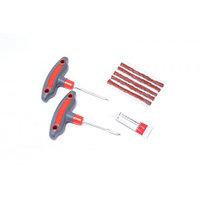 (KT-904T8B) Набор инструментов для ремонта шин 8пр.(шило и протяжка с прорезиненными рукоятками,шнуры,клей), в