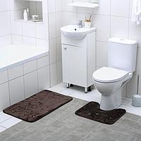 Набор ковриков для ванны и туалета «Галька, ракушки», 2 шт: 40×50, 50×80 см