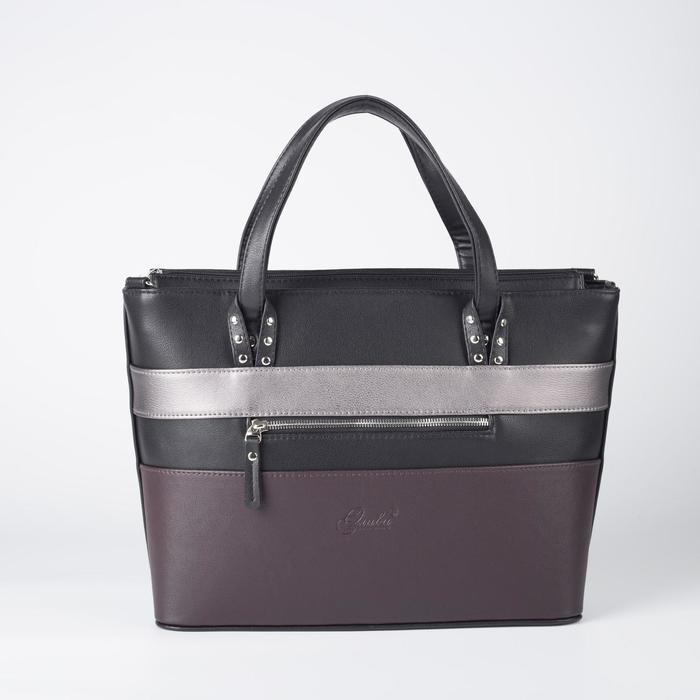 Сумка женская, отдел на молнии, наружный карман, длинный ремень, цвет чёрный/коричневый