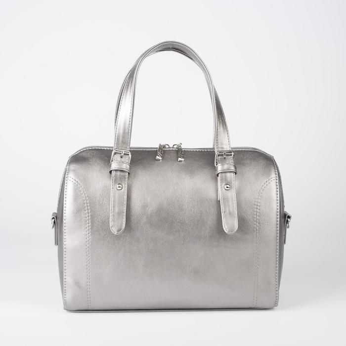 Сумка женская, отдел на молнии, наружный карман, длинный ремень, цвет серебристый