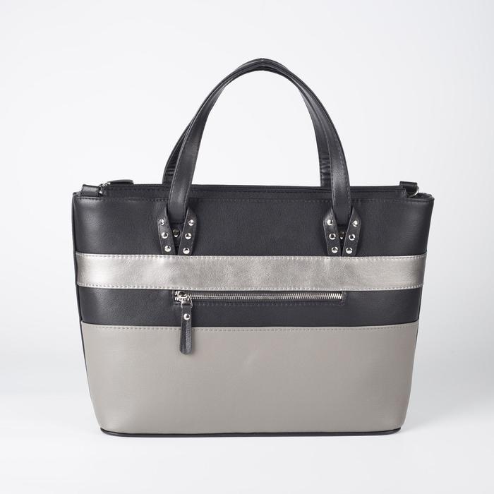Сумка женская, отдел на молнии, наружный карман, длинный ремень, цвет чёрный/серый
