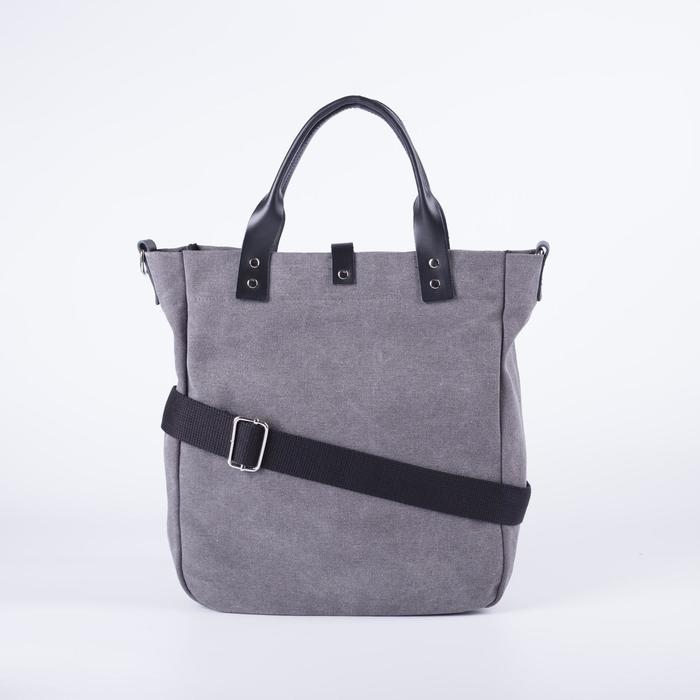 Сумка женская, отдел на молнии, наружный карман, длинный ремень, цвет серый - фото 2