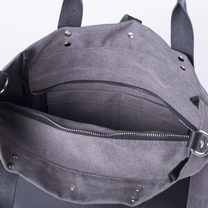 Сумка женская, отдел на молнии, наружный карман, длинный ремень, цвет серый - фото 3