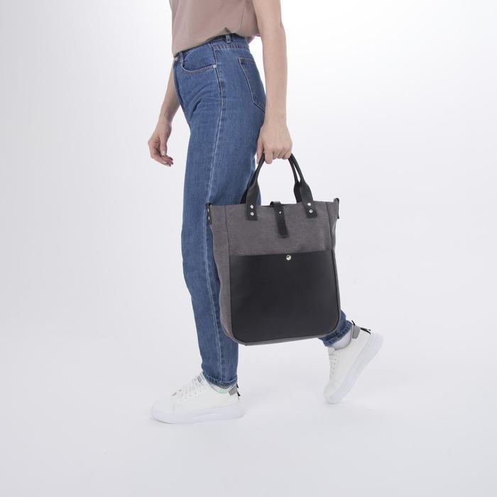 Сумка женская, отдел на молнии, наружный карман, длинный ремень, цвет серый - фото 4