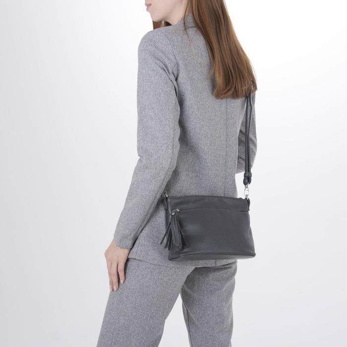 Сумка женская, отдел на молнии, 2 наружных кармана, длинный ремень, цвет серый - фото 4
