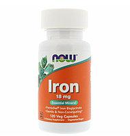 Now foods, Железо, 18 мг, 120 растительных капсул, IRON