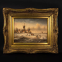 «Зимний пейзаж с мельницей» Масло. Современная картина.