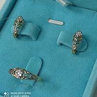 Серьги и кольцо с бриллиантом «Клоэ» / жёлтое золото