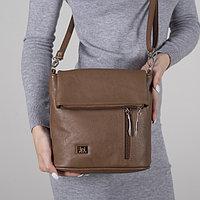 Сумка женская, отдел на молнии, 2 наружных кармана, регулируемый ремень, цвет коричневый