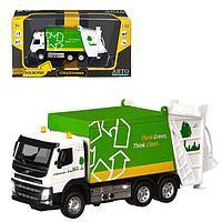 "Машина металл "" Volvo мусоровоз"" 1:50 цв зелен,откид кабина,дверь на кузове,св,зв JB1251187"