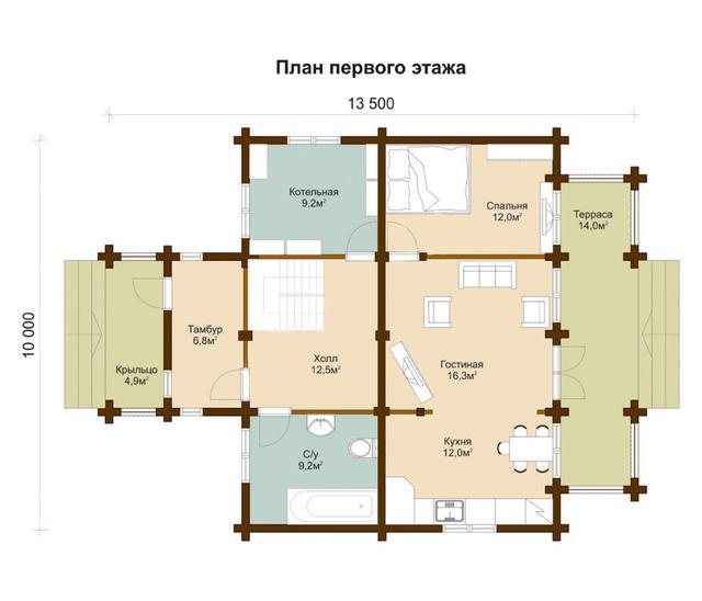 Проект и строительство дома из профилированного бруса, план двухэтажного дома и строительство под ключ, проектирование и строительство деревянных домов.