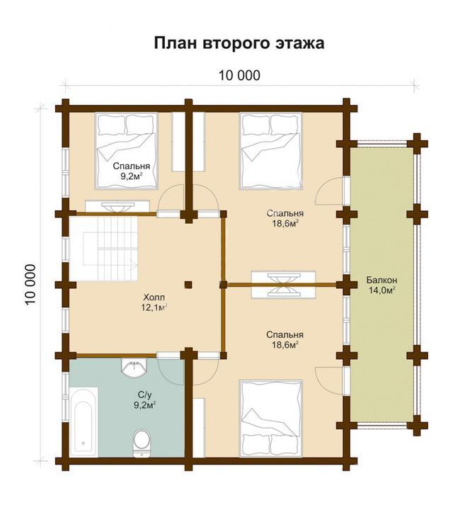 Проект и строительство дома с террасой, план двухэтажного дома и строительство под ключ, проектирование и строительство деревянных домов.