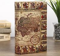 Книга сейф Морской путь карта кожзам