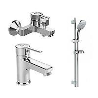 Набор 3в1: смеситель для раковины, смеситель для ванны, душевой гарнитур Ø100мм, IDEALSTYLE B1431AA