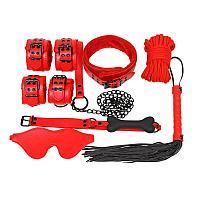 Набор БДСМ 7 предметов красный (наручники, ошейник, поводок, плеть, маска, веревка, кляп)