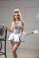 Набор Waitress (щетка с перьями, головной убор, перчатки, чулки, стринги, платье)