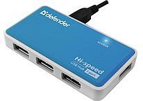 Разветвитель Defender Quadro Power USB2.0, 4 порта HUB синий