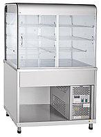 Прилавок-витрина холодильный ПВВ(Н)-70КМ-С-НШ вся нерж.плоский стол (1120мм)