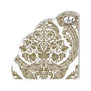 """Салфетки кругл., d 32см, 3 сл., """"Royal (золото) на белом"""", Бумага, 12 шт"""