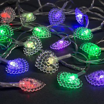 """Гирлянда """"Нить"""" 5 м с насадками """"Сердце малое"""", IP20, прозрачная нить, 20 LED, свечение мульти, мигание, 220 В"""