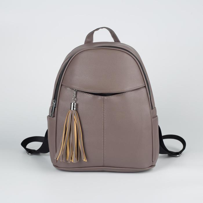 Рюкзак L-1823, 27*14*32, отд на молнии, 2 н/кармана, 2 бок кармана, бежевый