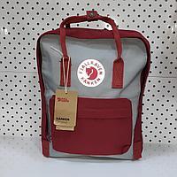 Рюкзак Fjallraven Kanken Classic. Цвет Бордовый и серый отличный вариант для повседневных прогулок