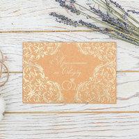 Свадебное приглашение 'Обручальное', крафт, с тиснением, 16 х 10,5 см (комплект из 10 шт.)