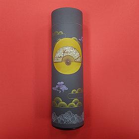 Термос с журавлями в японской стилистике (серый)