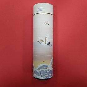 Термос с журавлями в японской стилистике (белый)